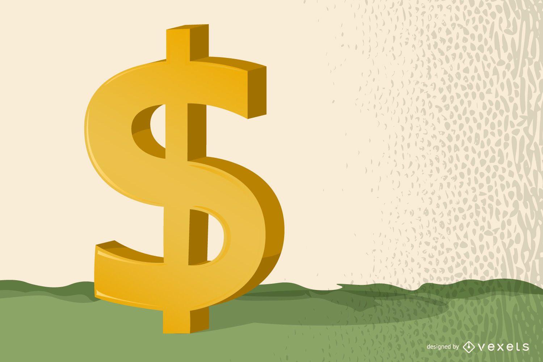Signo de dólar 3D brillante