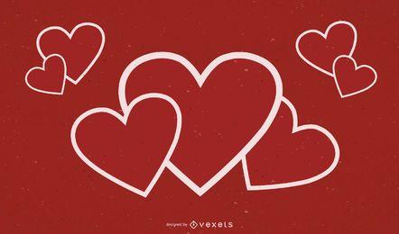 Design de plano de fundo com contorno de coração