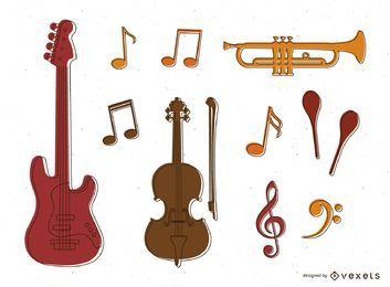 Musikinstrumente und Noten