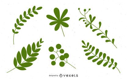 20 Leave vector silhouettes