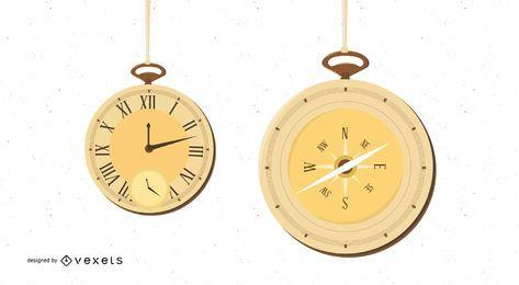 Vintage vector reloj de bolsillo y brújula