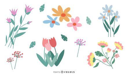Conjunto de vectores de flores en color