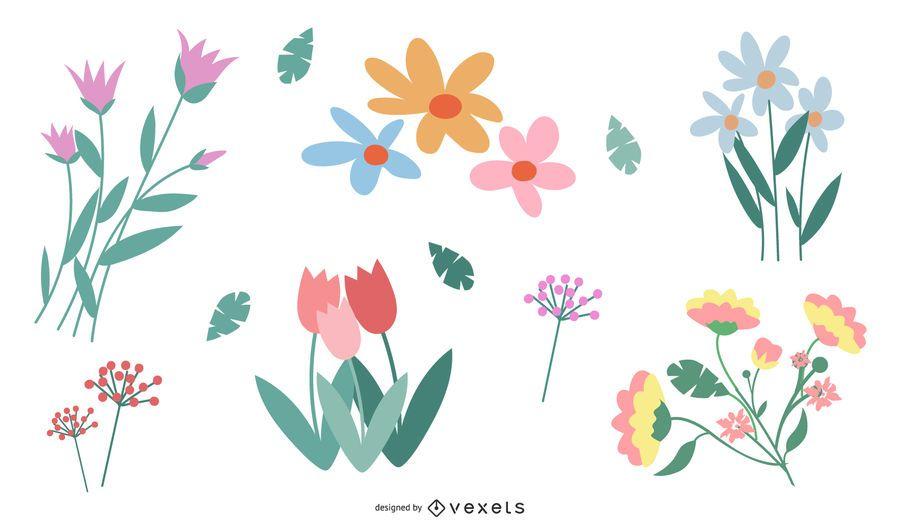 Flower Vector Set in Color