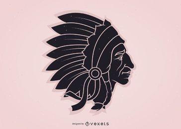 Imagen vectorial de jefe indio