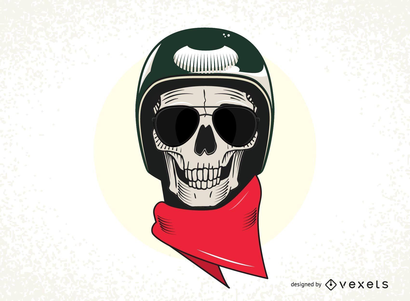 Cráneo con vector de casco militar