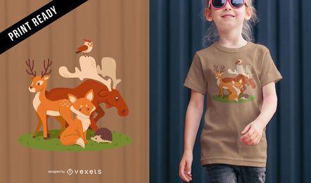 Diseño de camiseta de vectores animales.