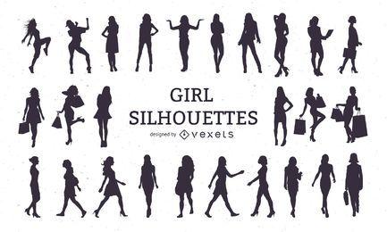 Mädchen Silhouette Set