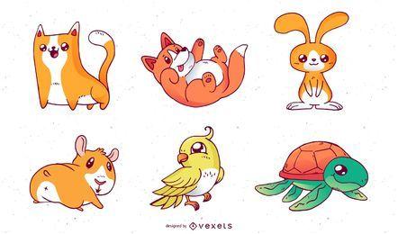 Vetores de animais de estimação dos desenhos animados