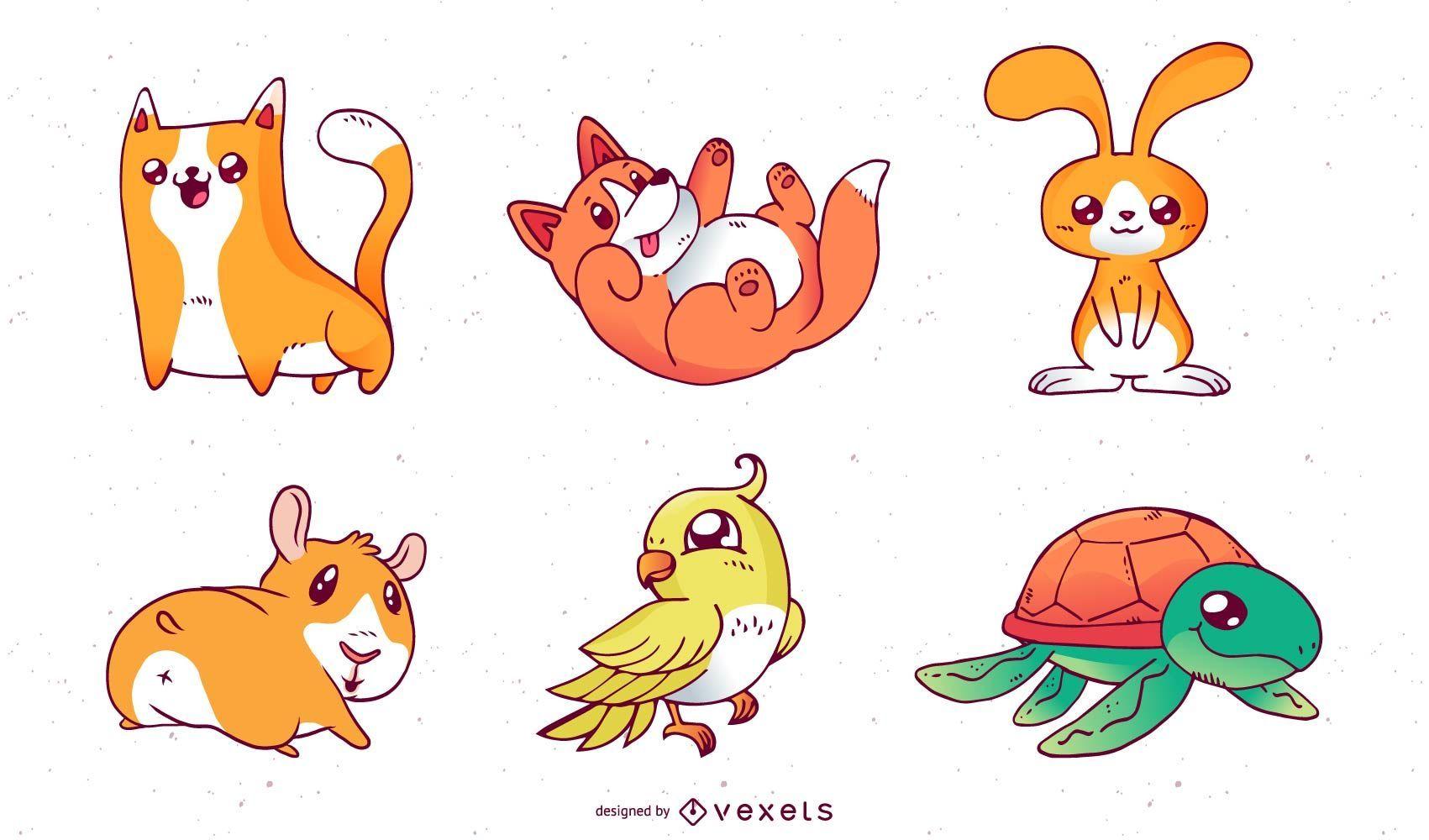 Vectores de mascotas de dibujos animados