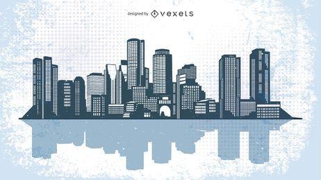 Ilustración del horizonte de la ciudad urbana