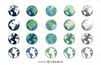 Earth Globe Icons Set