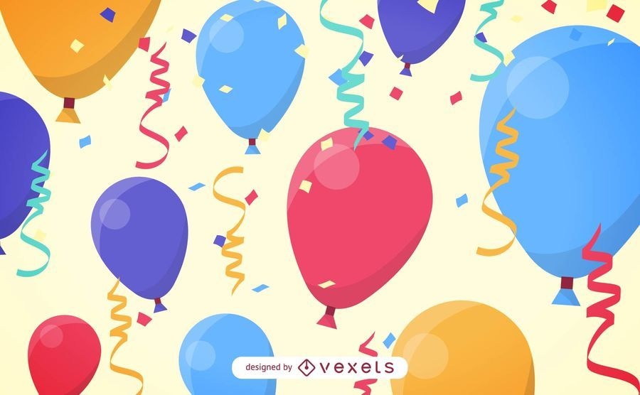 balloons and streamers vector download