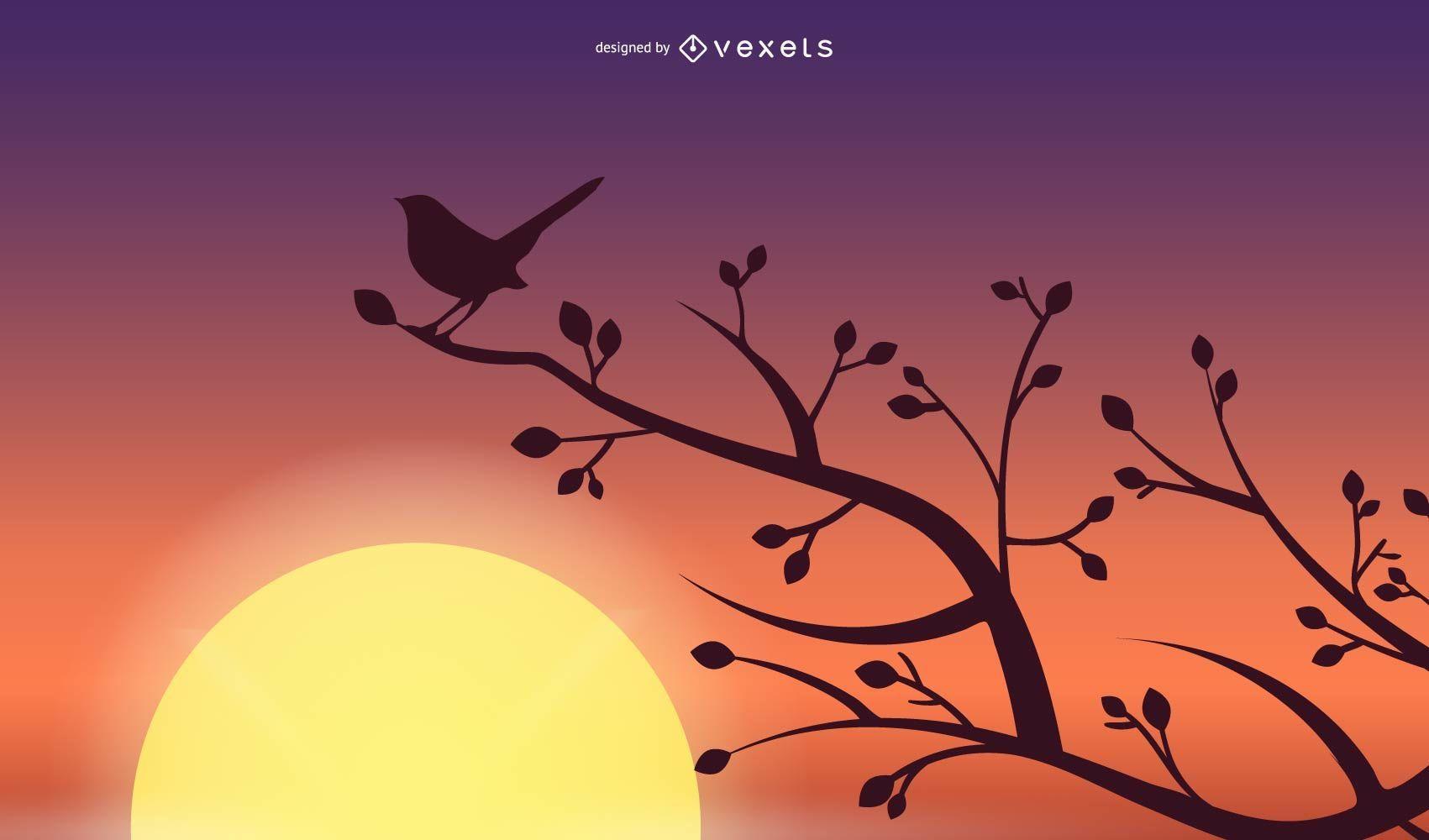Ilustración de silueta de pájaro al atardecer