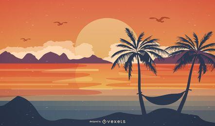 Summer sunset beach landscape