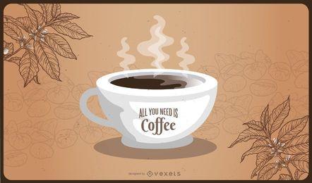 Tarjeta de café abstracta