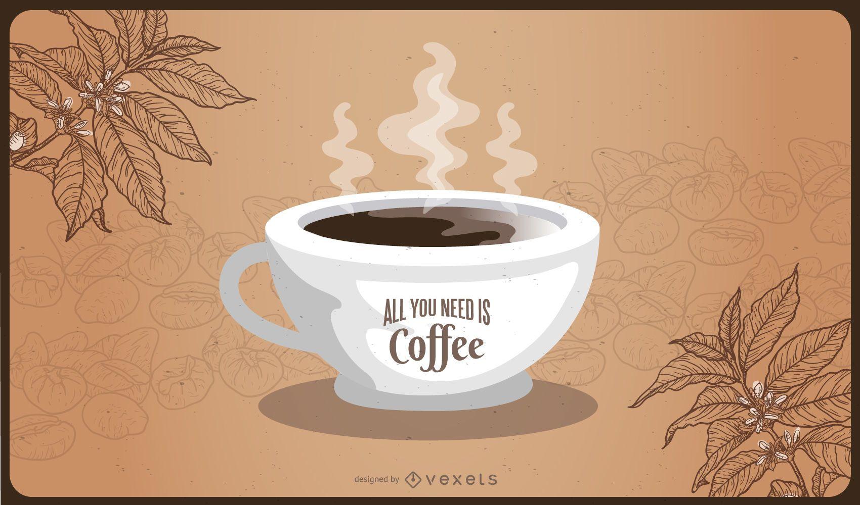 Abstrakte Kaffeekarte