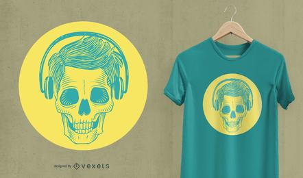 Crânio com design de t-shirt de fones de ouvido
