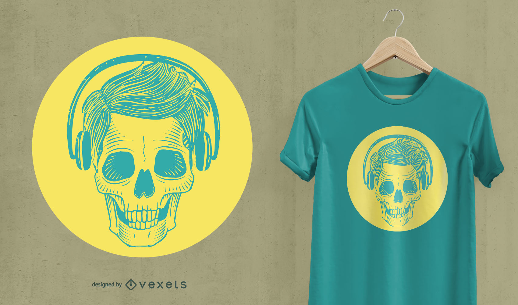Skull with headphones t-shirt design