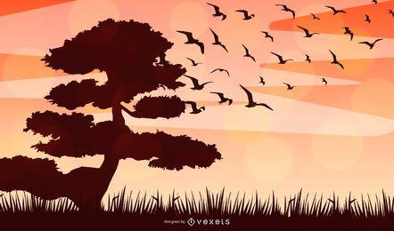 Desenho vetorial de silhueta de paisagem africana