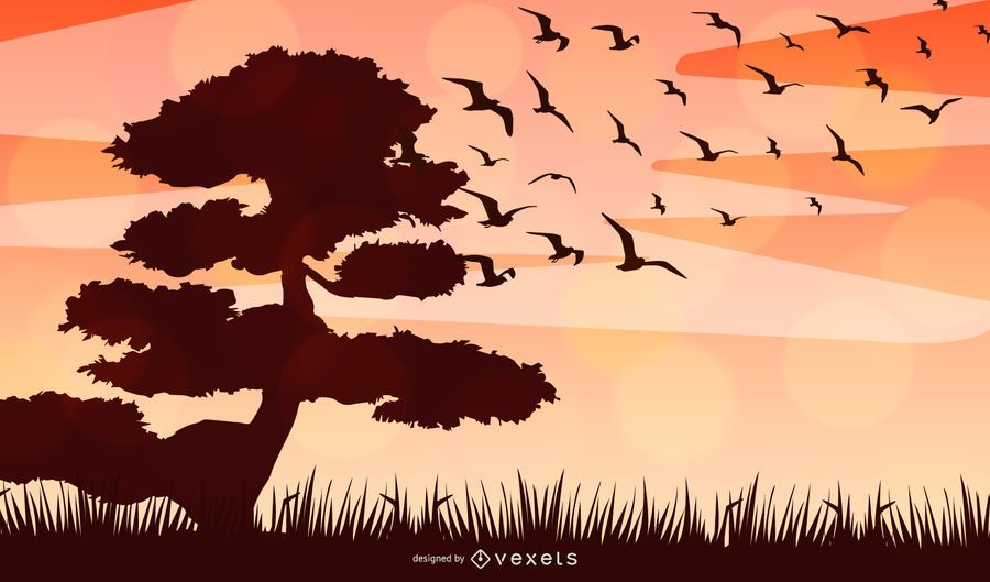 African Landscape Silhouette Vector Design