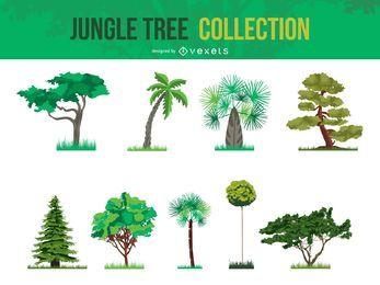 Coleção de árvore de selva de vetor