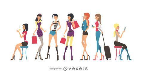 Meninas de glamour do vetor