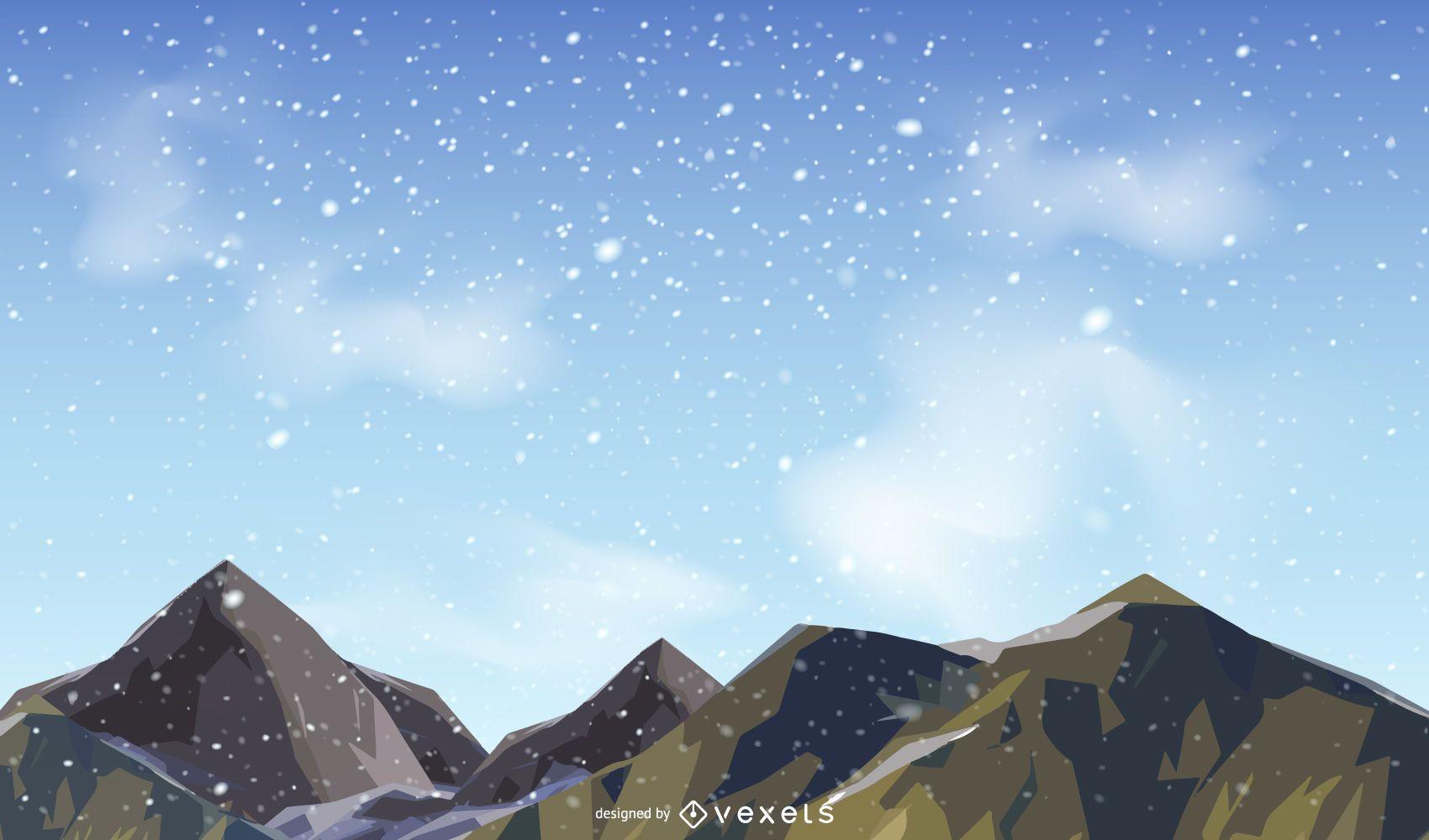 Diseño vectorial de montañas nevadas