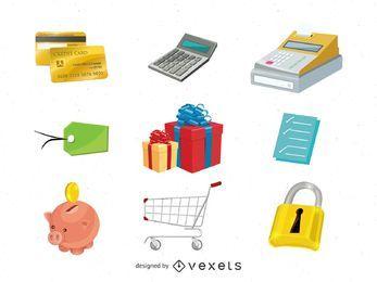 Pacote de ícones de comércio eletrônico