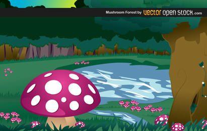 Diseño de ilustración de bosque de hongos