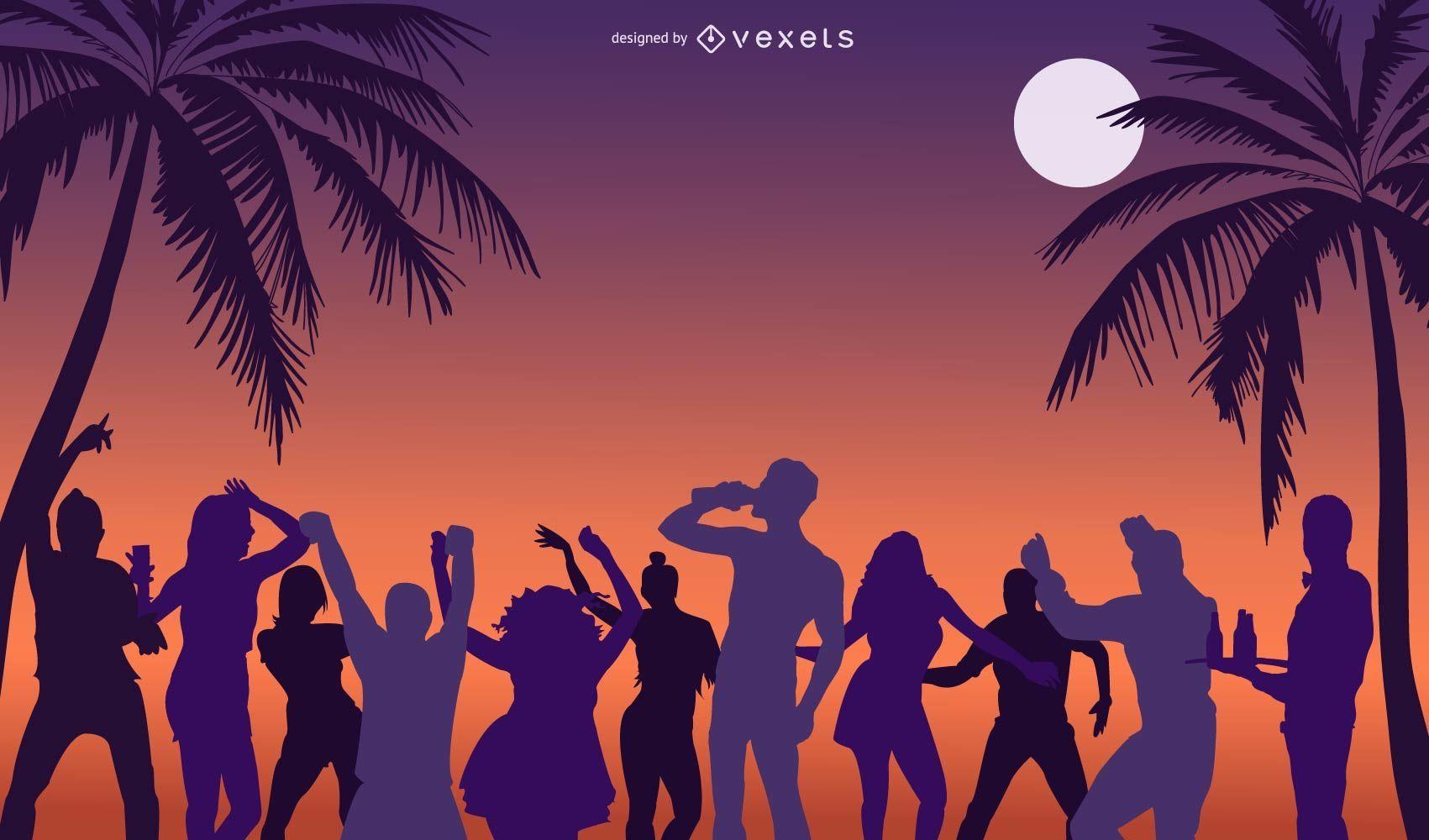 Vacaciones en la playa fiesta personas silueta