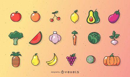 Conjunto de frutas vectoriales de trazo