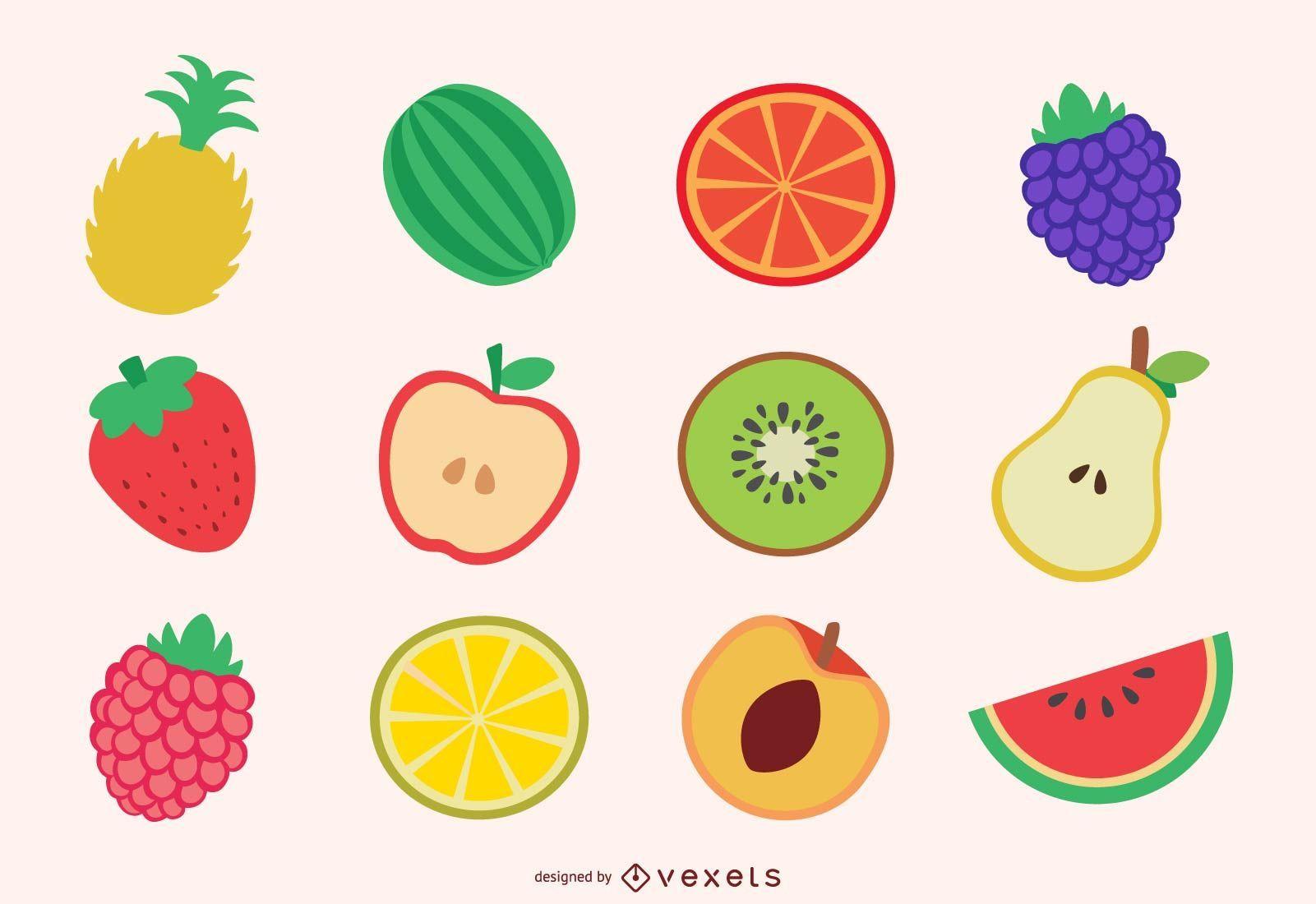 Conjunto de rodajas de frutas