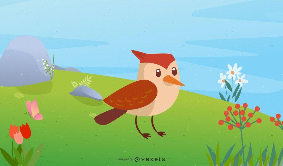 Pássaro de primavera de vetor bonito