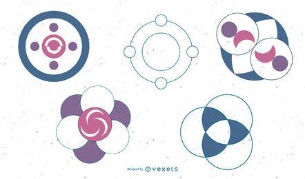 Conjunto de ícones de círculos de design abstrato