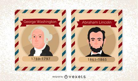 Weinlese US Präsident Briefmarken