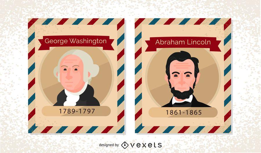 Sellos postales antiguos del presidente de EE. UU.