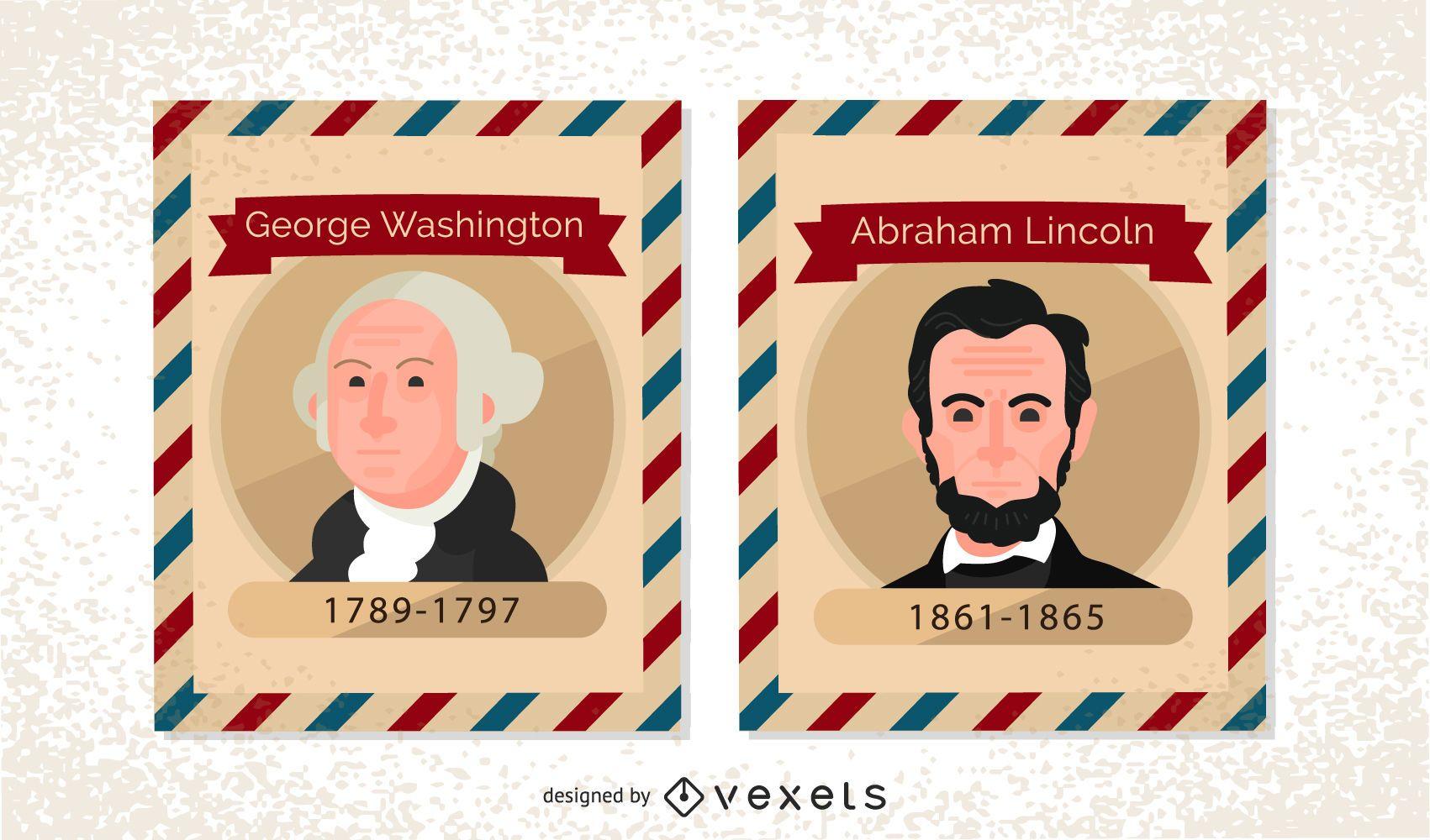 Vintage US President Postage Stamps