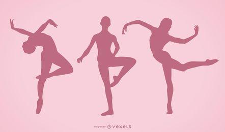 Siluetas de niña bailando