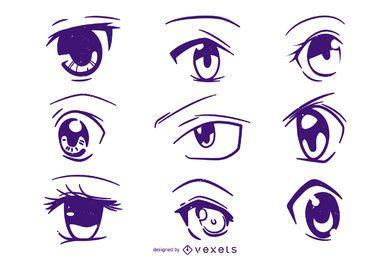 Conjunto de ilustración de ojos de anime