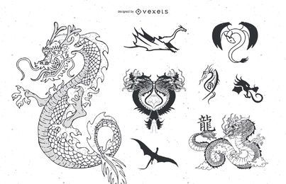 Tatuaje de dragón vector