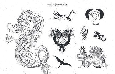 Vector dragón tatuaje
