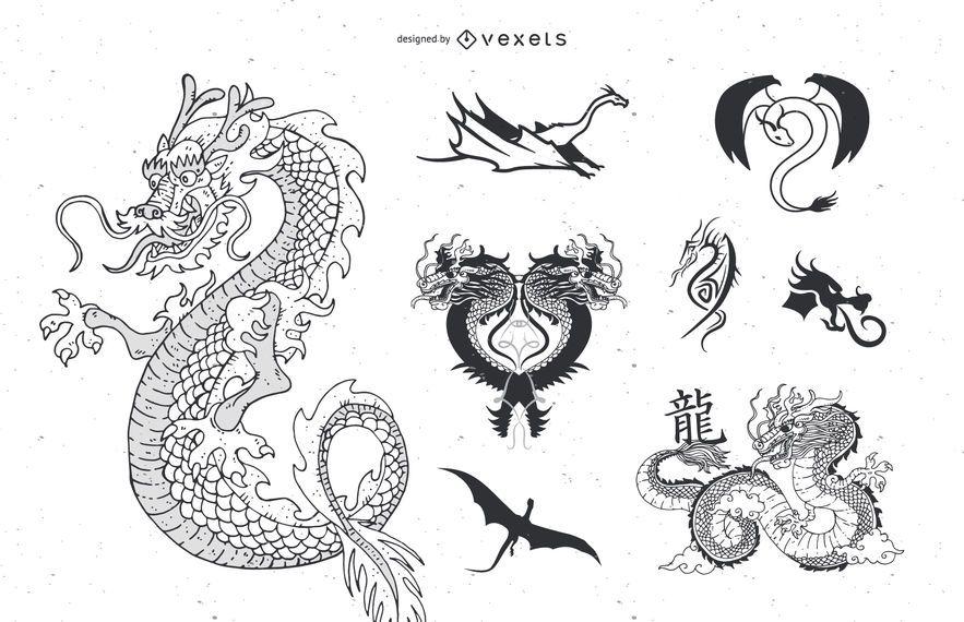 Tatuagem de dragão de vetor