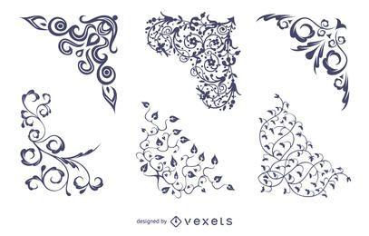 Cantos florais vetoriais