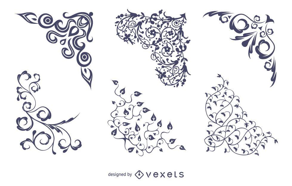 Esquinas florales vectoriales