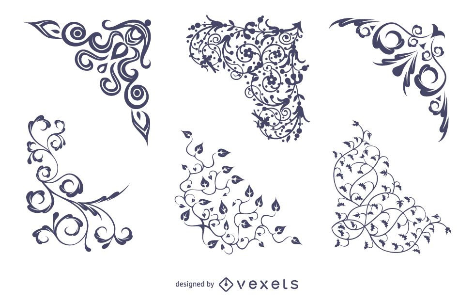 Vector floral corners