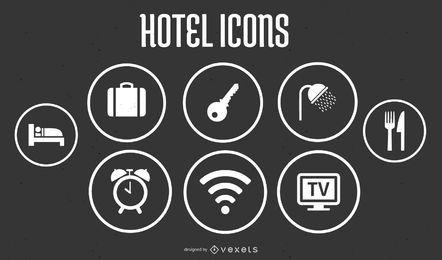 Iconos de hotel en formato vectorial