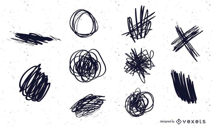 10 garabatos de tinta vector y arañazos