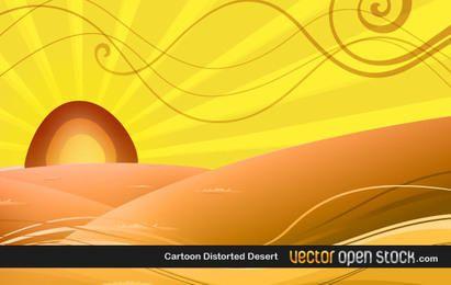 Desierto distorsionado de dibujos animados