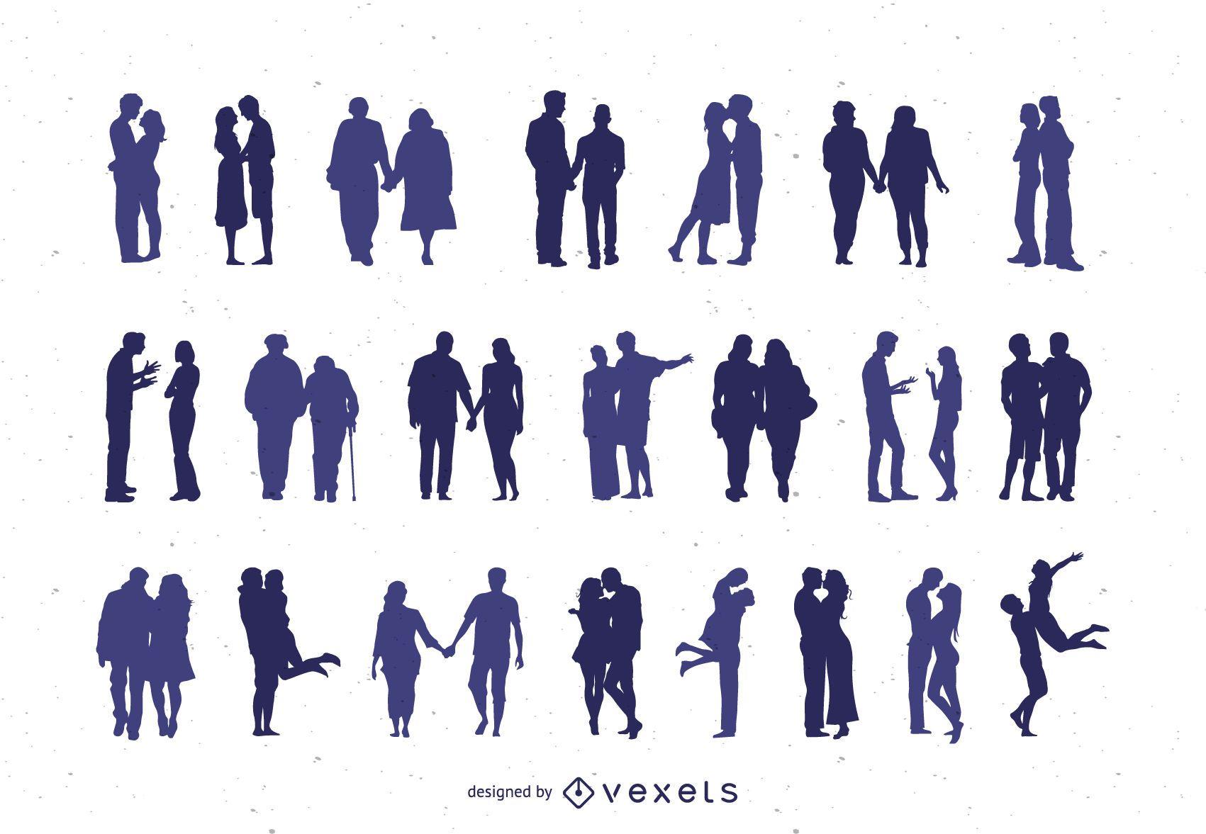 Colección de imágenes prediseñadas de silueta de pareja