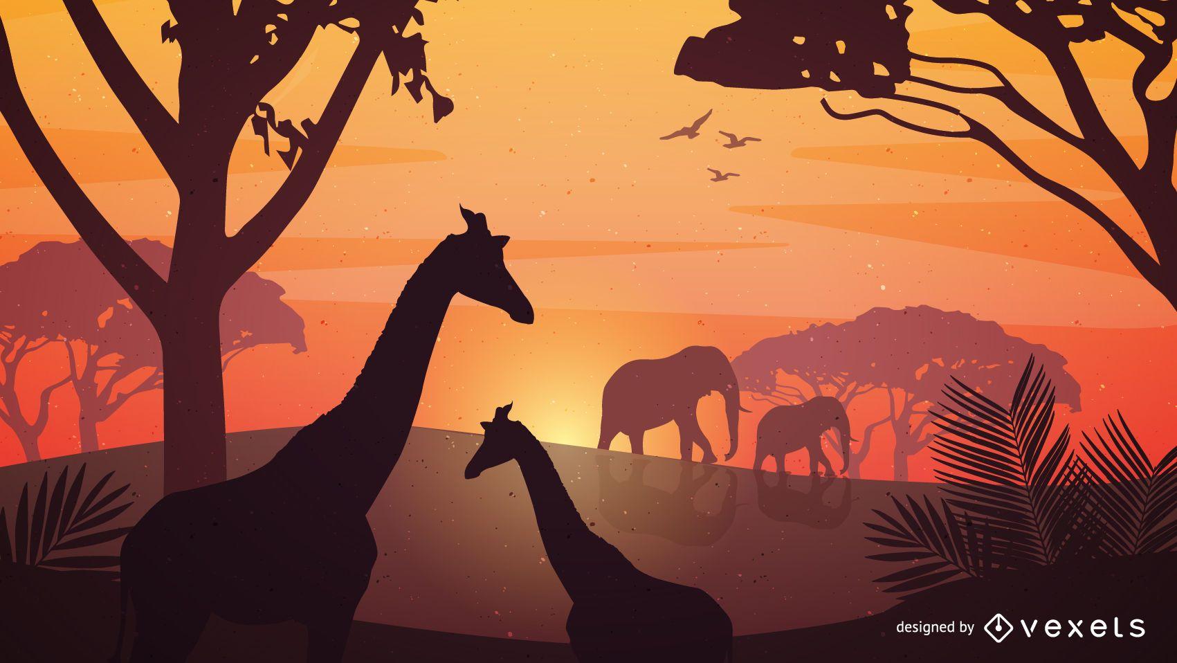 Cartel de safari de vector